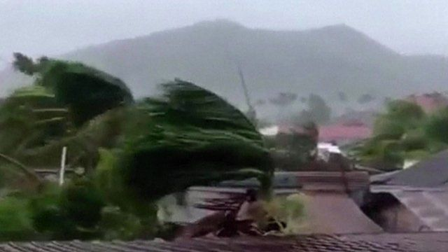 Trees bend in winds of Typhoon Haiyan, the Philippines, November 2013