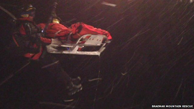Climber being airlifted