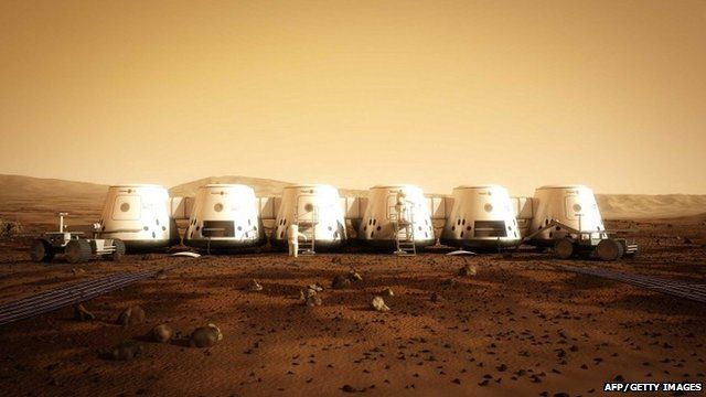 "Artist""s rendition of a settlement on Mars"