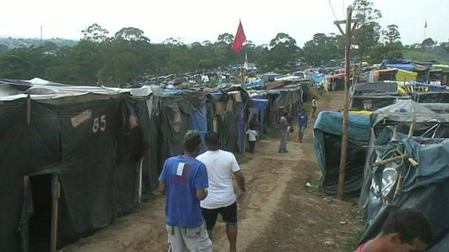 The protest camp in Sao Paulo
