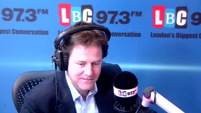 Nick Clegg on his weekly LBC radio phone-in show