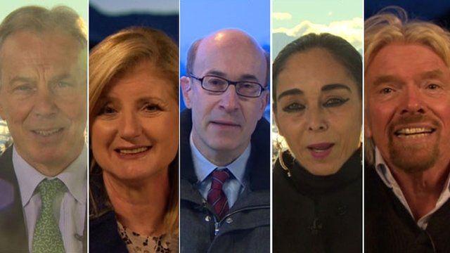 Tony Blair, Arianna Huffington, Kenneth Rogoff, Shirin Neshat and Richard Branson