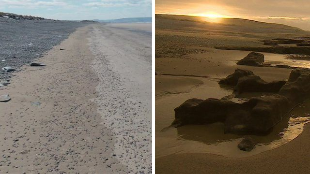 Photograph of beach before storms, and after