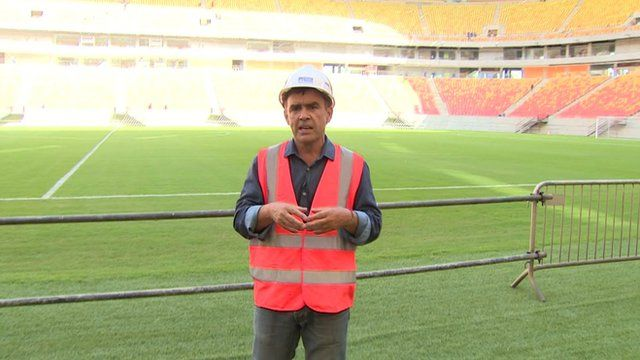 Wyre Davies at the new World Cup venue in the city of Manaus