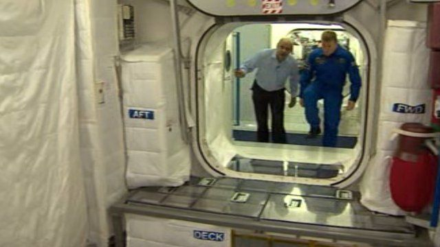Inside a model of the ISS science lab