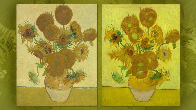 Van Gogh's Sunflowers, the one of the left is usually shown in London, the one on the right is on loan from Amsterdam