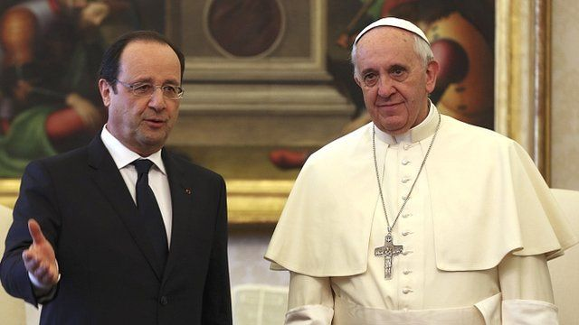 French President Francois Hollande and Pope Francis