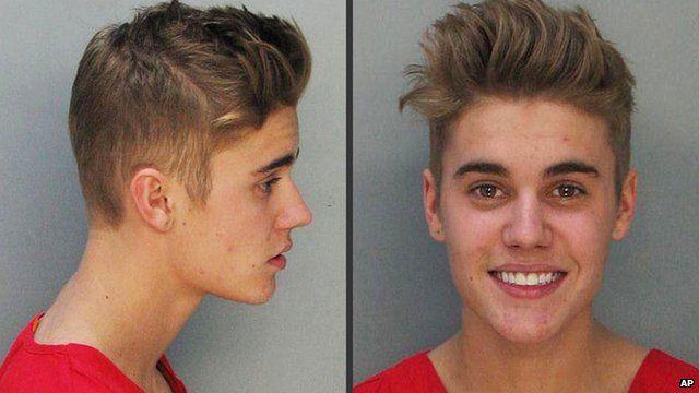 Justin Bieber's mugshot