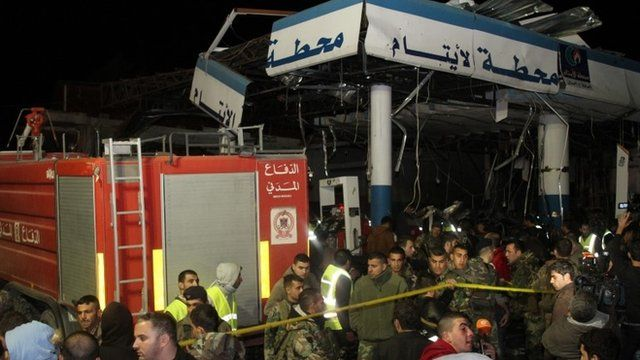 Lebanese emergency personnel at petrol station