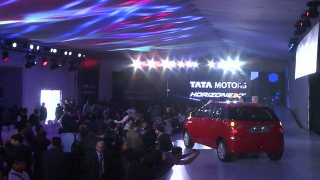 Tata car on a stand at the Delhi Auto Show
