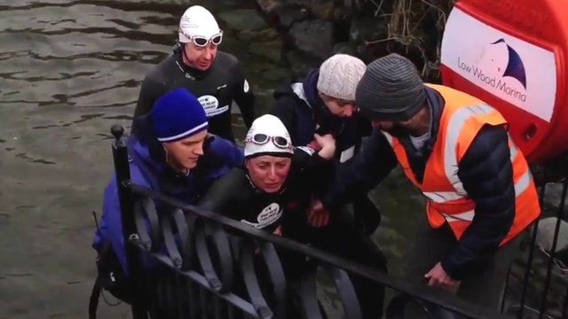 Davina McCall completing her challenge