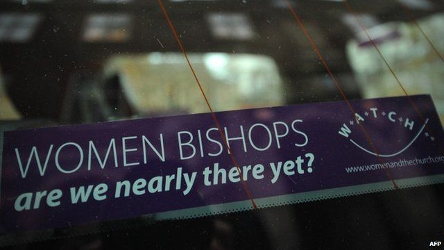 Banner advocating female bishops