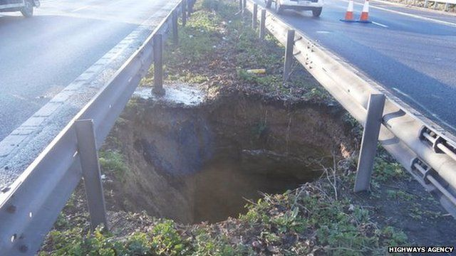 Hole in central reservation