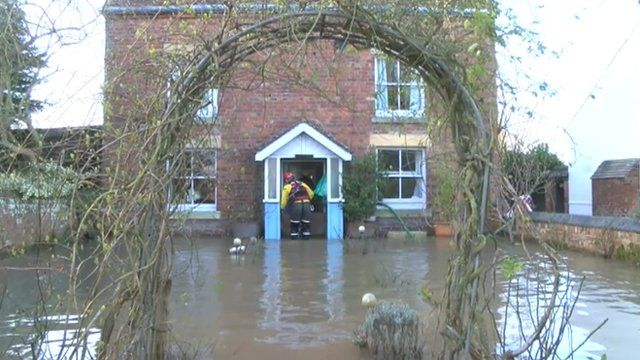 Floodwater outside a home in Tirley, Gloucestershire