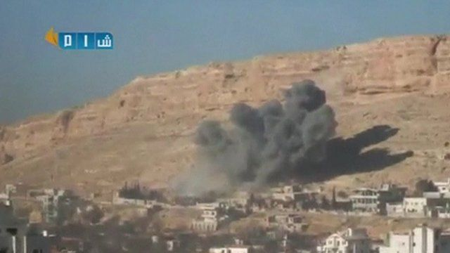 Grab from activist footage of explosion in Yabroud