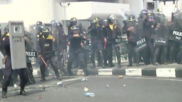 Thai police in riot gear