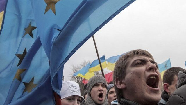 Protesters with EU flag