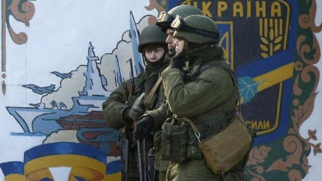 Soldiers, believed to be Russian, in the village of Perevalnoye outside Simferopol, 3 March