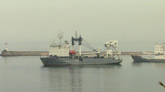 Russian ship blocking Sevastopol port