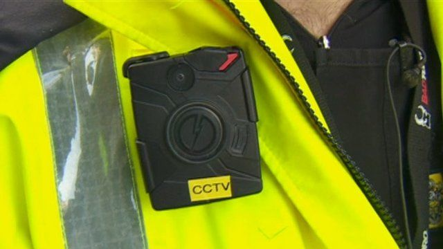 A body camera that is being worn by a Cheshire Police officer