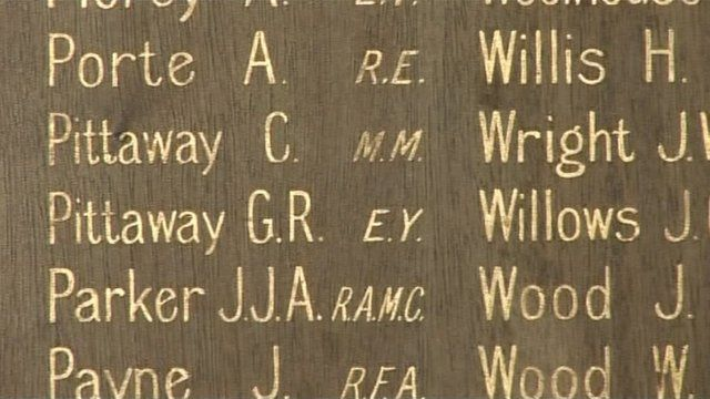Names on the Sharp Street memorial