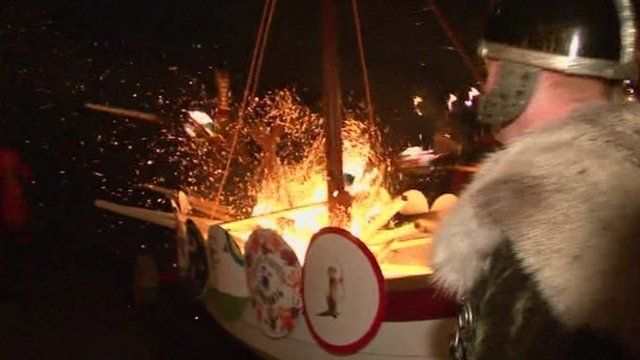 Viking scene in Shetland