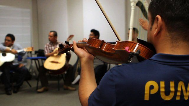 Mariachi music class practicing
