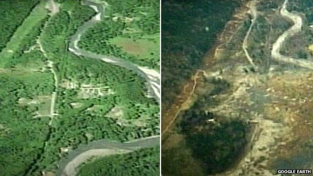 Before/after landslide pictures from Google Earth
