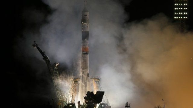 The Soyuz-FG rocket booster with Soyuz TMA-12M space ship
