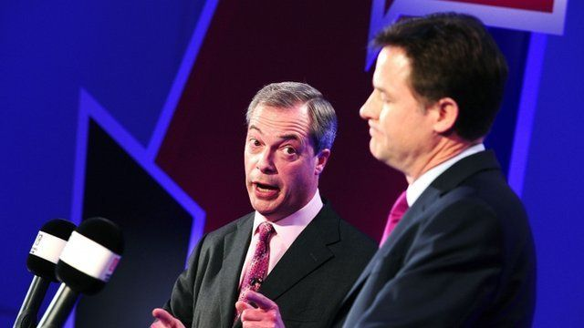 Nick Clegg and Nigel Farage debating