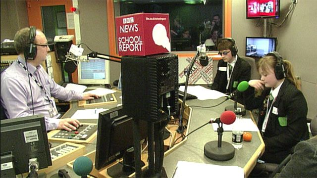 Pupils from Cottingham High School in the BBC Humberside studio