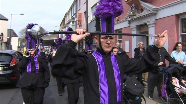 Marchers at the parade in Bridgend