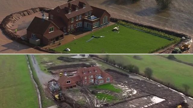 A house in the floods and afterwards