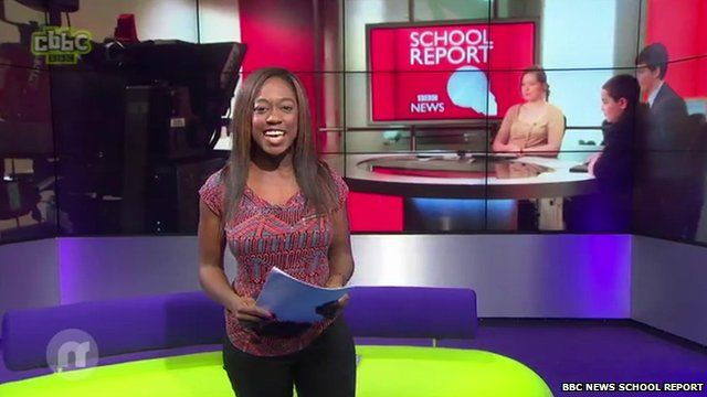 Newsround presenter on set