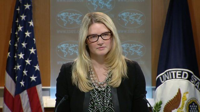 Marie Harf at a state department briefing 2 April 2014