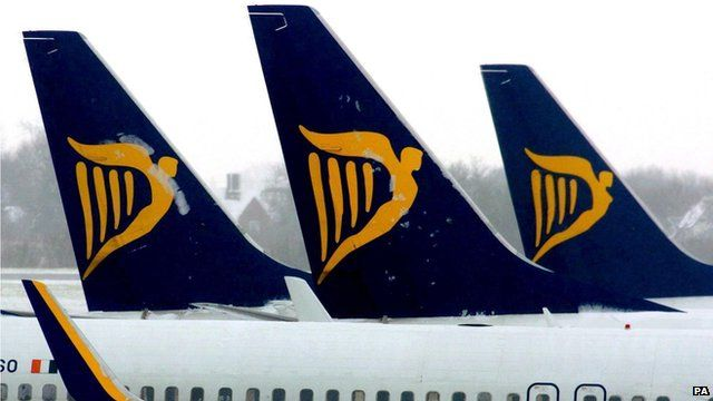 Ryanair planes at an airport