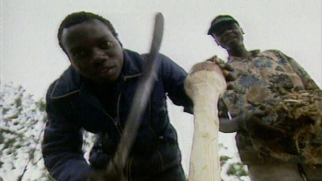 Two members of the Hutu militia in Rwanda