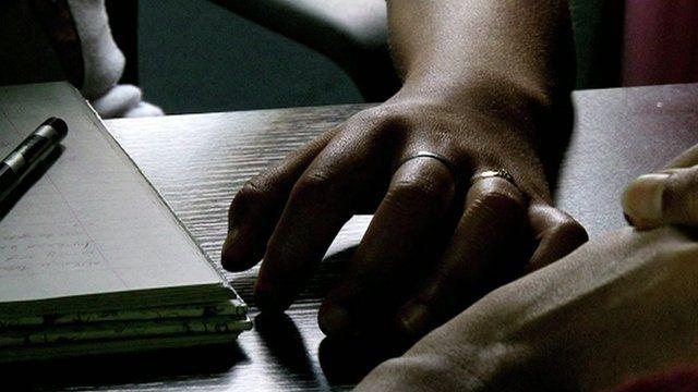 """Hands of rape victim """"Sara"""""""