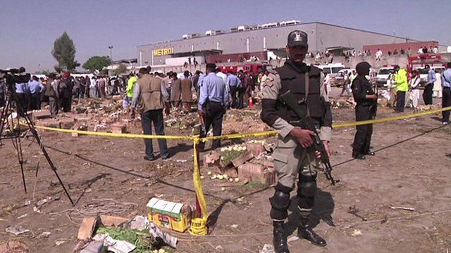 Scene of a deadly blast on the outskirts of Pakistan's capital Islamabad