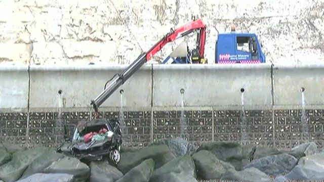 Car recovered after cliff fall