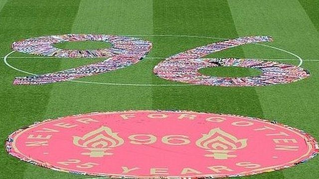 Scarves from English football clubs make a 96 on Anfield's pitch