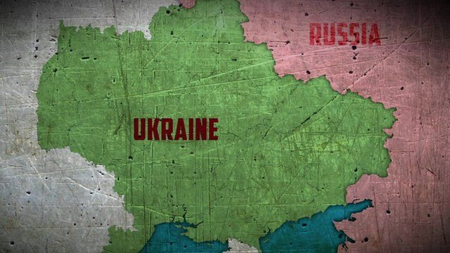 Map showing Ukraine and Russia
