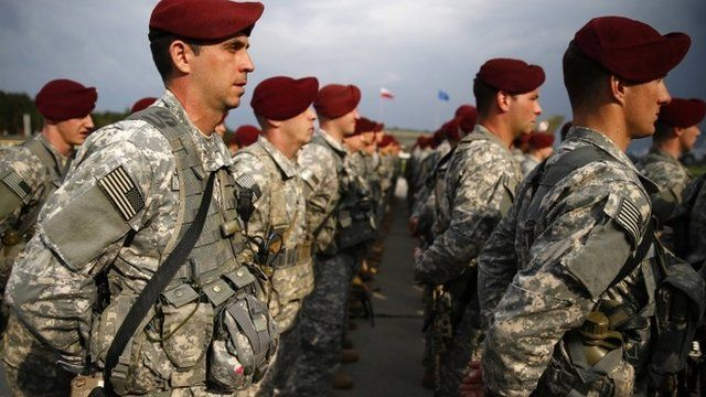 150 U.S. paratroopers from the U.S. Army's 173rd Infantry Brigade Combat Team based in Italy attend a welcoming ceremony as they arrive to participate in training exercises with the Polish army in Swidwin, northern west Poland April 23, 2014.
