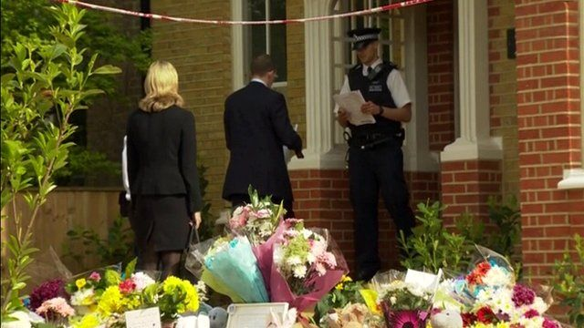 Detectives arrive at the family home