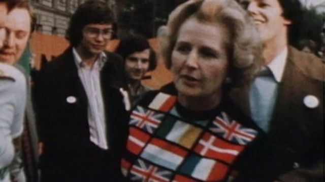 Margaret Thatcher in euro jumper