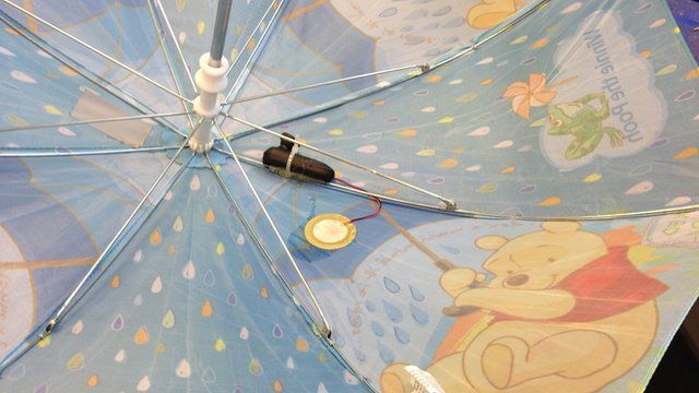 The prototype attached to a child's umbrella