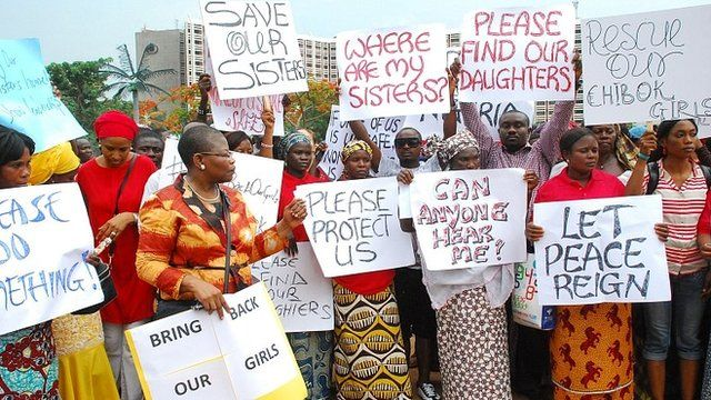 Politicians, women and mothers of abducted girls on protest march