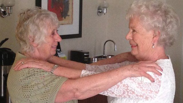Ann (left) and Elizabeth meet for the first time in 78 years