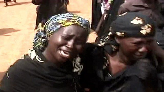 Relatives visit the scene of the April 14 kidnappings