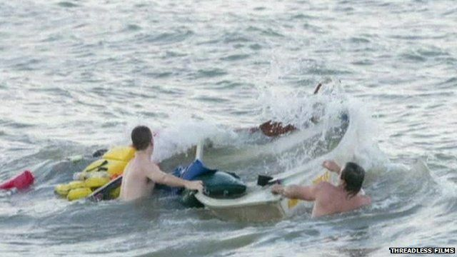 Groomsmen rescue fisherman